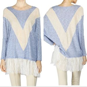 A'reve  dolman knit blouse lace detail
